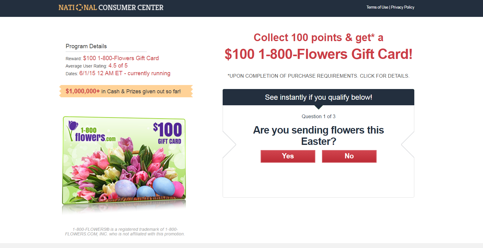 Get a Credit up to $100 at 1-800 Flowers!